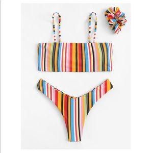 NWT Shein Rainbow high cut bikini scrunchy L
